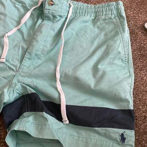 Polo ralph lauren mint color drawstring shorts.